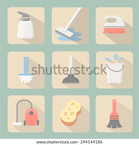 Cleaning icons flat design with sponge plunger  bucket vacuum cleaner and spray - stock vector