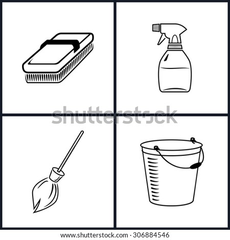 Cleaning Icons Set , Isolated, Fetlock, Sprayer, Broom, Bucket , Black and White Vector Illustration - stock vector