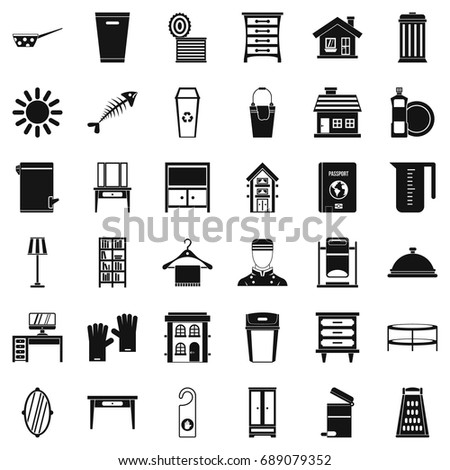 Cleaning Icons Set Simple Style Of 36 Vector For Web Isolated On White