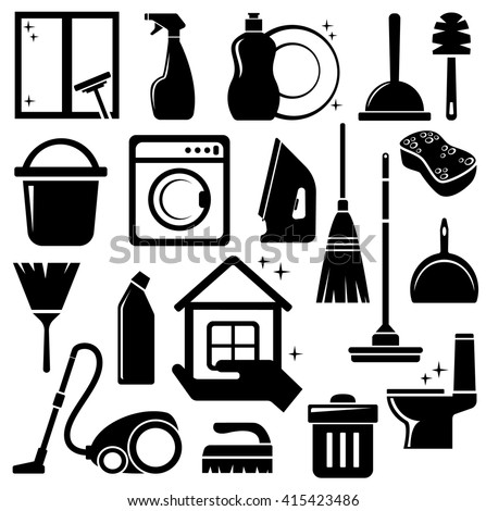 Cleaning icons vector set - stock vector