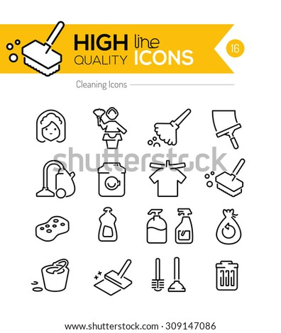 Cleaning Line Icons Series - stock vector