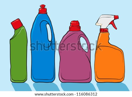 Cleaning product bottles - stock vector
