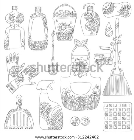 cleaning products flat icons vector set on white background.cleaning product doodle set hand drawn.