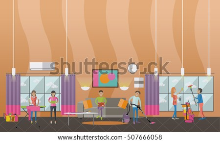 Cleaning Service Concept Vector Banner People Stock Vector 507666058 Shutterstock