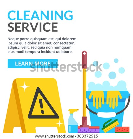 Cleaning service flat illustration creative modern stock for Floor banner