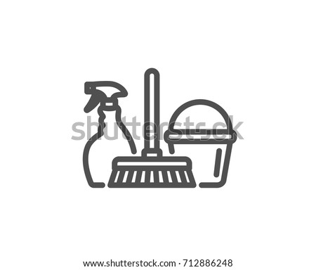 Cleaning Service Line Icon Spray Bucket And Mop Symbol Housekeeping Equipment Sign
