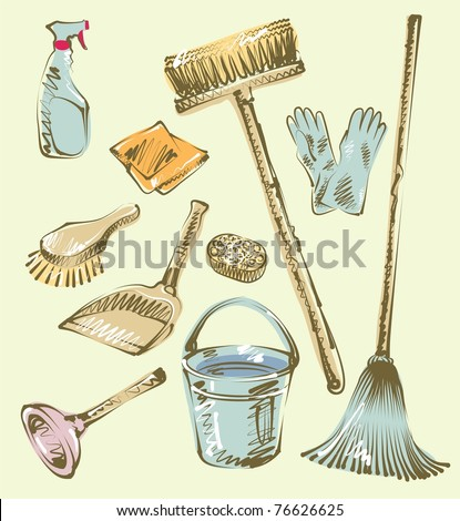 Cleaning service sketch design elements. - stock vector