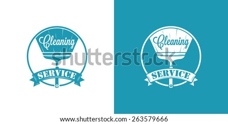 Cleaning Service Vector Vintage Logos on two color - stock vector
