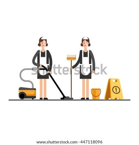 Young Cleaner Woman Uniform Cleaning Service Stock Vector
