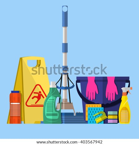 Cleaning set. MOP, sponge, blue plastic bucket with rubber gloves upstairs, cleaning products in bottle for floor and glass, yellow sign reminder of wet floor . vector illustration in flat design - stock vector