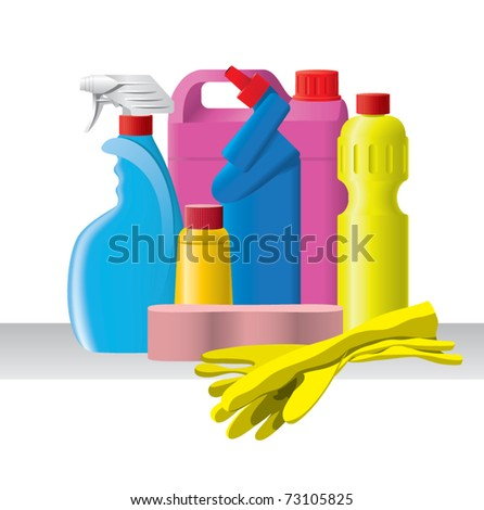 Cleaning set with bottles, sponge and gloves - stock vector
