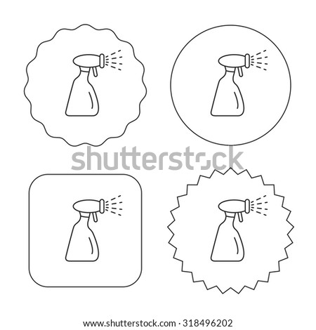 Cleaning spray bottle icon. Washing tool sign. Flat circle, star and emblem buttons. Labels design. Vector - stock vector