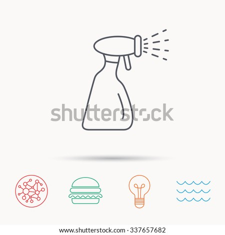 Cleaning spray bottle icon. Washing tool sign. Global connect network, ocean wave and burger icons. Lightbulb lamp symbol. - stock vector