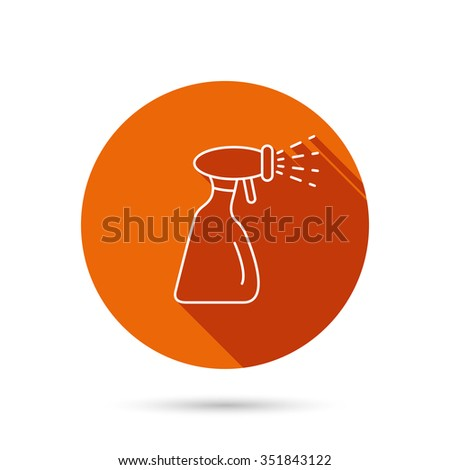 Cleaning spray bottle icon. Washing tool sign. Round orange web button with shadow. - stock vector