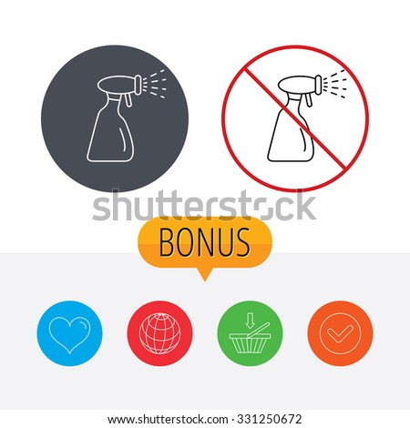 Cleaning spray bottle icon. Washing tool sign. Shopping cart, globe, heart and check bonus buttons. Ban or stop prohibition symbol. - stock vector