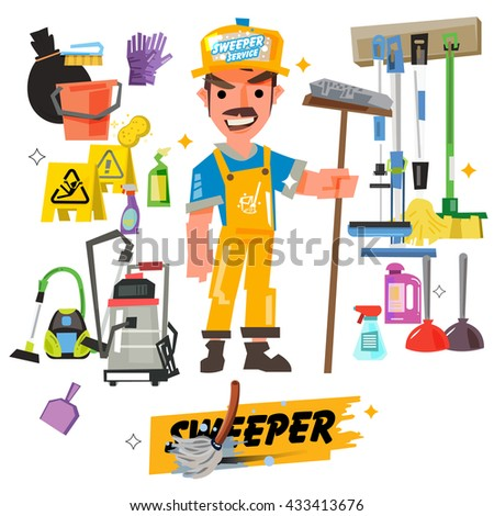 cleaning staff characters with cleaning equipment come with typographic - vector illustration - stock vector