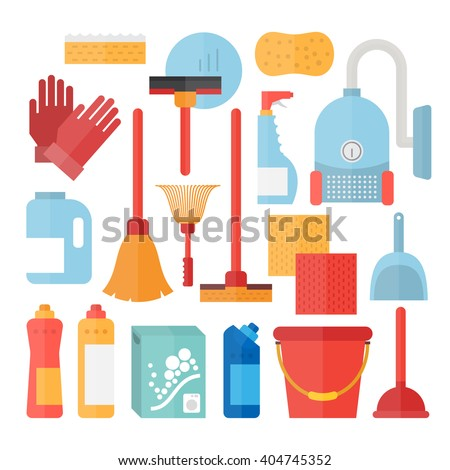 Cleaning supplies. Cleaning tools and cleaners. Household equipment for clean house - stock vector