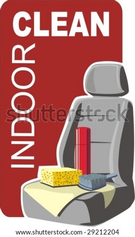 cleaning the car sittings and salon - stock vector