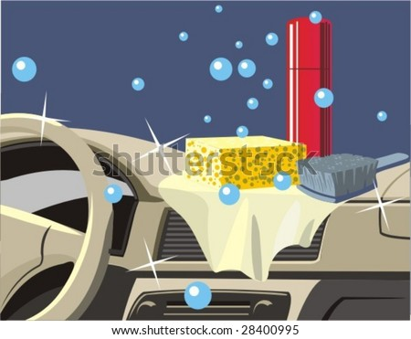 cleaning to car panel instrument and salon - stock vector