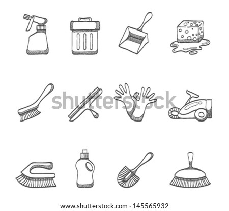 Cleaning tool icon series in sketch - stock vector