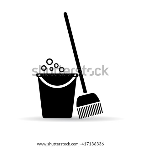 Cleaning tools icon vector illustration isolated on white background - stock vector