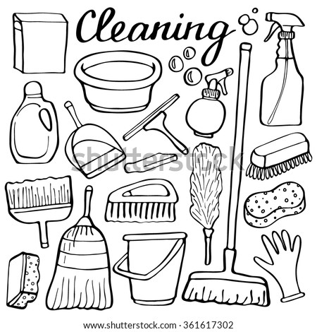 Cleaning tools set. Hand-drawn cartoon collection of house cleaning stuff. Doodle drawing. Vector illustration - stock vector