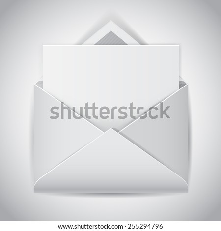 Clear e-mail vector icon, realistic open envelope with empty letter - stock vector