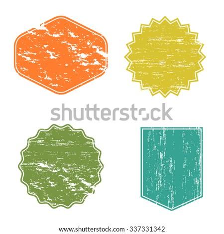 Clear mockup logo badge, set retro labels shabby paper, grunge design element template - stock vector