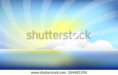 Clear Sea Horizon on Sunshine - stock vector