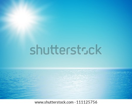 clear sea horizon over blue sky with sun shine - stock vector