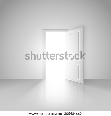 Clear white room with opened door to the beautiful new mystic world background image design vector stock eps 10 illustration - stock vector