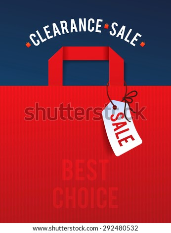 Clearance Sale Poster with percent discount. Illustration of paper shopping bags and lights.  - stock vector