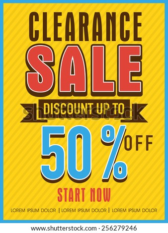 Clearance sale with discount offer flyer, banner or template design for your business. - stock vector