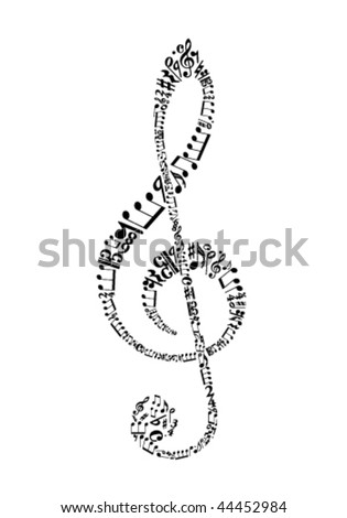 clef from sheet music symbols - stock vector