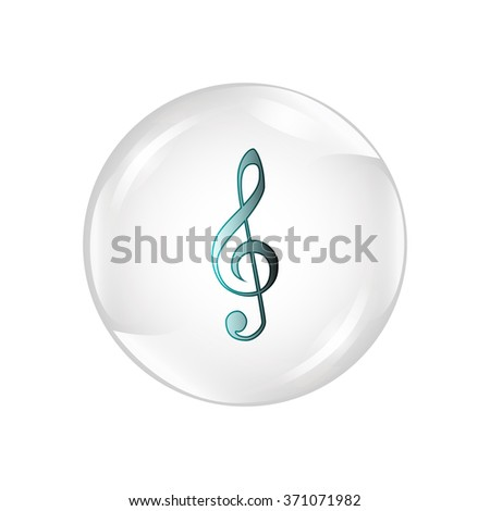 Clef isolated. Clef in shiny glossy ball. Vector illustration of music clef. Note key for music cartoon. Music element symbol. - stock vector