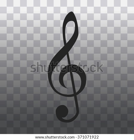 Clef isolated. Vector illustration of music clef. Note key for music cartoon. Music element symbol  - stock vector