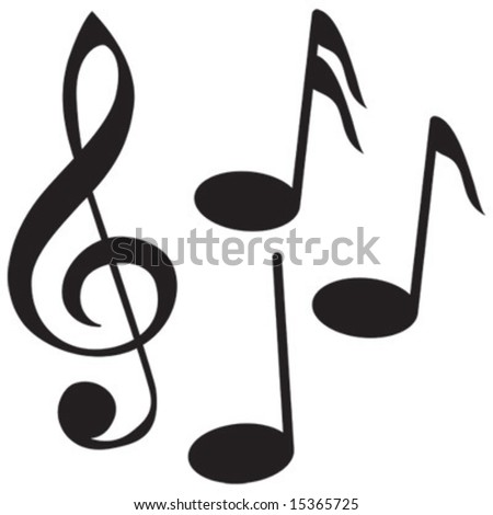 Clef with notes - stock vector