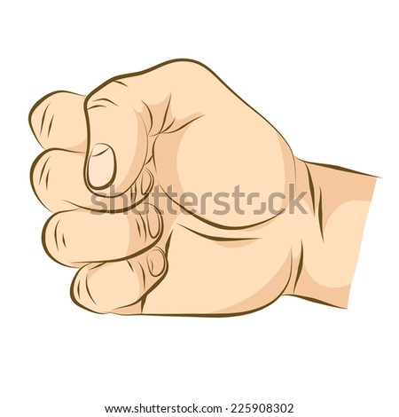 Clenched fist. Realistic human hand colored version. - stock vector