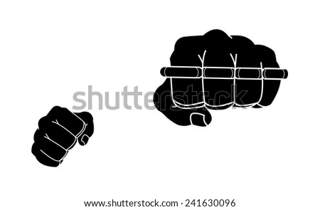 Clenched man fists holding brass-knuckle. Punching. Black and white isolated illustration - stock vector