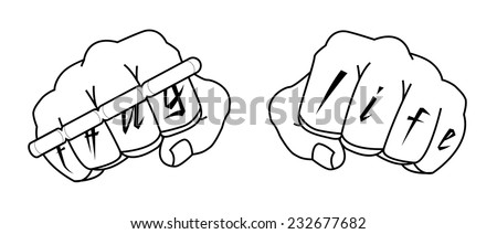 Clenched man fists with Thug life tattoo holding brass knuckles. Black and white illustration isolated on white - stock vector