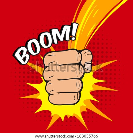 Clenched power fist boom pow abstract hit vector illustration - stock vector