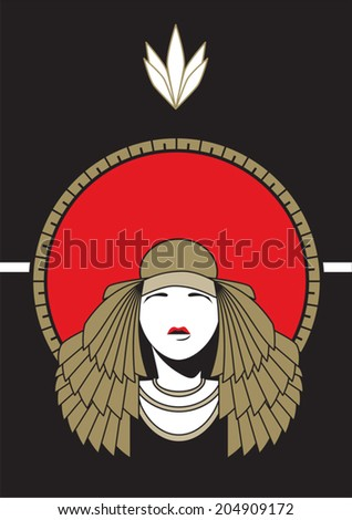 Cleopatra with a red sun ornament - stock vector