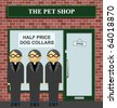 Clergy queuing for half price dog collars at the pet shop - stock vector