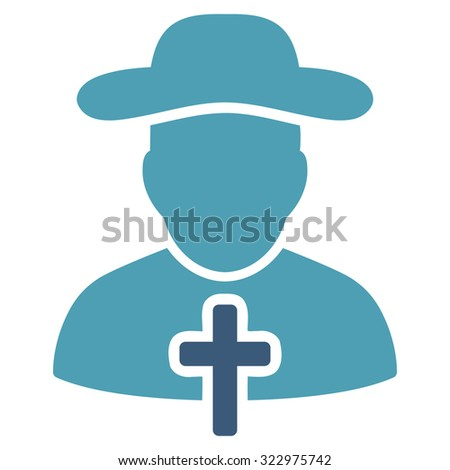 Cleric vector icon. Style is bicolor flat symbol, cyan and blue colors, rounded angles, white background.