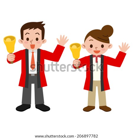 Clerk with a bell - stock vector