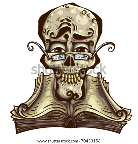 Clever skull. Skull wear eyeglasses over open ancient book with curly pages. Detailed illustration. - stock vector