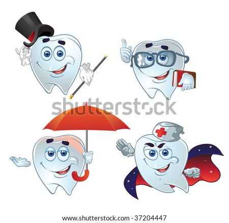clever teeth hurry up on help - stock vector