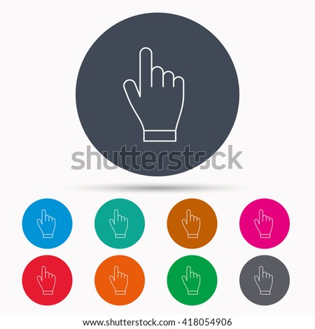 Click hand icon. Press or push pointer sign. Icons in colour circle buttons. Vector - stock vector