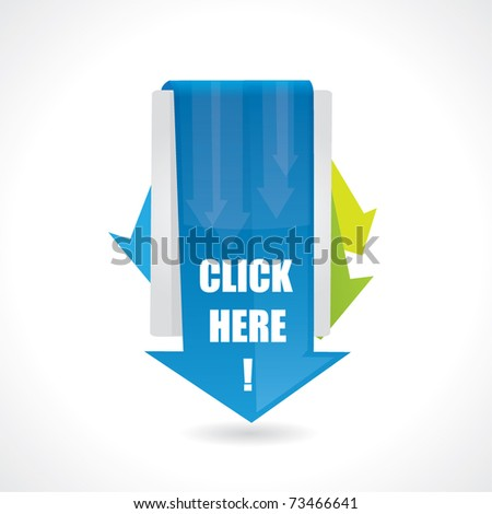 Click here design with arrows - stock vector