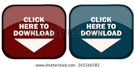 Click Here to Download Blue and Red Glossy Buttons, Vector Illustration isolated on White Background.  - stock vector